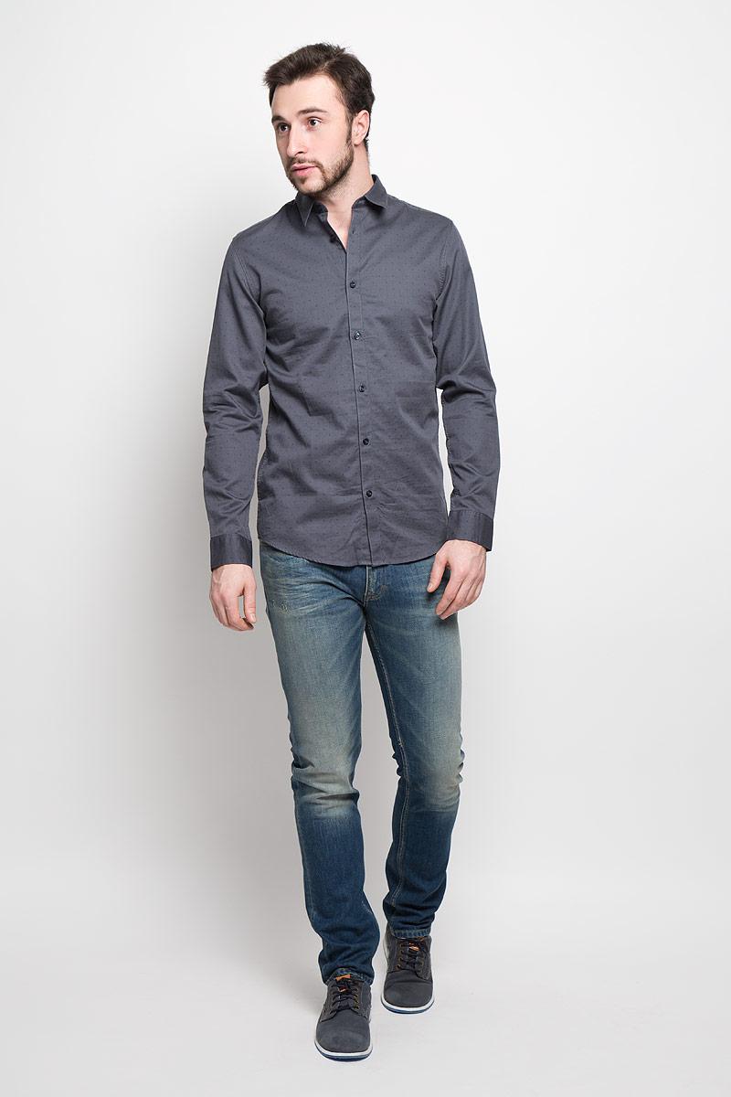 Рубашка мужская Selected Homme, цвет: графитовый. 16053266. Размер XXL (52) водолазка мужская selected homme identity цвет молочный 16052854 размер xl 50