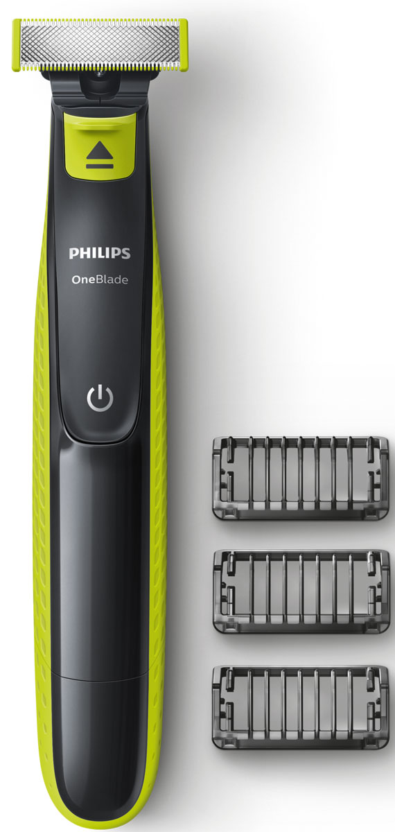 Триммер для бороды и усов Philips OneBlade QP2520/20 с 3 насадками-гребнями