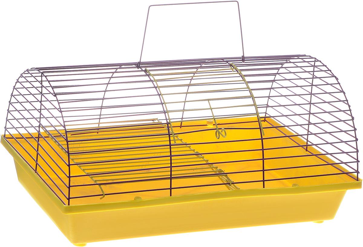 Клетка для грызунов ЗооМарк, цвет: желтый поддон, фиолетовая решетка, 36 х 23 х 17,5 см(110ж)ЖФКлетка ЗооМарк, выполненная из полипропилена и металла, подходит для грызунов. Она имеет яркий поддон, удобна в использовании и легко чистится. Клетка оснащена вторым ярусом с лесенкой, выполненных из металла.Такая клетка станет уединенным пространством и уютным домиком для маленького грызуна.