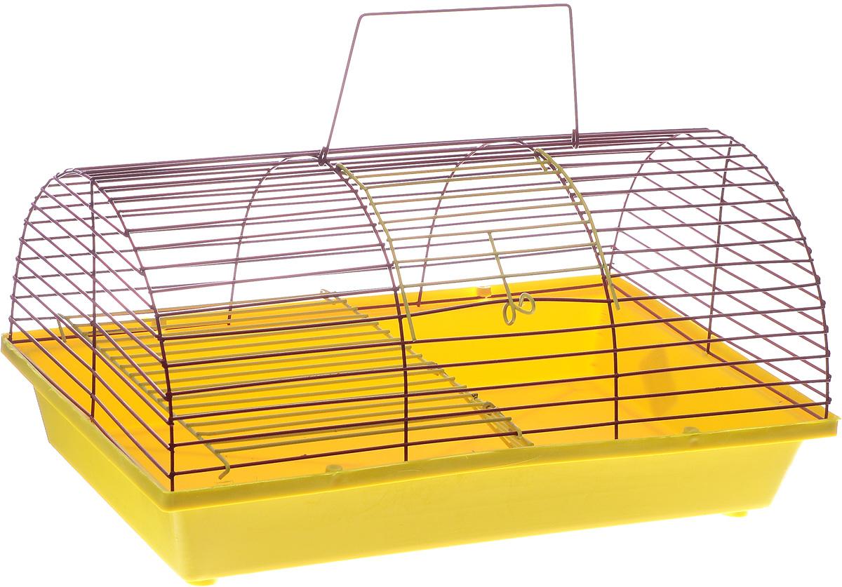 Клетка для грызунов ЗооМарк, цвет: желтый поддон, красная решетка, 36 х 23 х 17,5 см(110ж)ЖККлетка ЗооМарк, выполненная из полипропилена и металла, подходит для грызунов. Она имеет яркий поддон, удобна в использовании и легко чистится. Клетка оснащена вторым ярусом с лесенкой, выполненных из металла.Такая клетка станет уединенным пространством и уютным домиком для маленького грызуна.