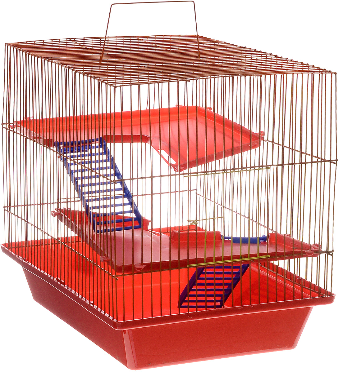Клетка для грызунов ЗооМарк  Гризли , 3-этажная, цвет: красный поддон, оранжевая решетка, красные этажи, 41 х 30 х 36 см - Клетки, вольеры, будки