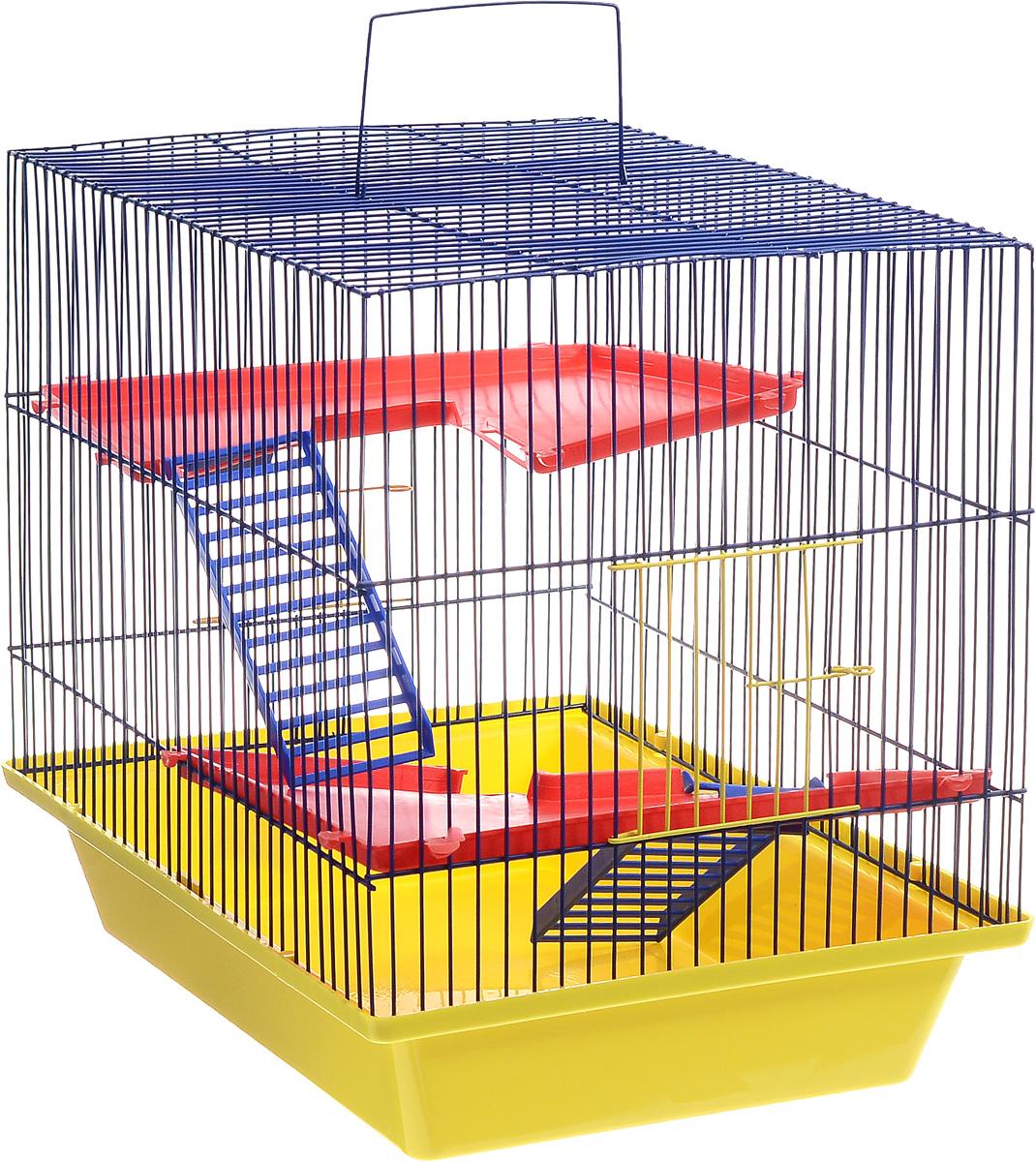 Клетка для грызунов ЗооМарк Гризли, 3-этажная, цвет: желтый поддон, синяя решетка, красные этажи, 41 х 30 х 36 см230ЖСКлетка ЗооМарк Гризли, выполненная из полипропилена и металла, подходит для мелких грызунов. Изделие трехэтажное. Клетка имеет яркий поддон, удобна в использовании и легко чистится. Сверху имеется ручка для переноски.Такая клетка станет уединенным личным пространством и уютным домиком для маленького грызуна.