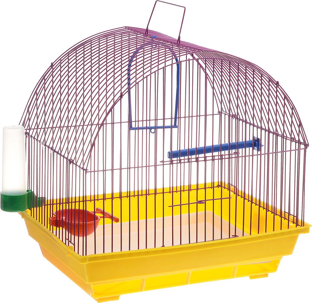 Клетка для птиц ЗооМарк, цвет: желтый поддон, фиолетовая решетка, 35 х 28 х 34 см420ЖФКлетка ЗооМарк, выполненная из полипропилена и металла с эмалированным покрытием, предназначена для мелких птиц.Изделие состоит из большого поддона и решетки. Клетка снабжена металлической дверцей. В основании клетки находится малый поддон. Клетка удобна в использовании и легко чистится. Она оснащена жердочкой, кольцом для птицы, поилкой, кормушкой и подвижной ручкой для удобной переноски.