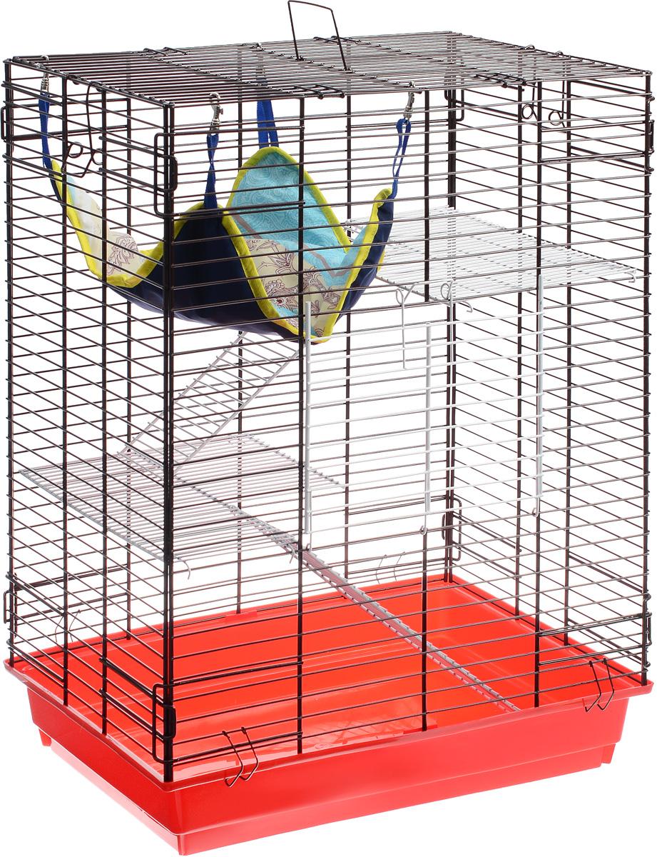Клетка для шиншилл и хорьков ЗооМарк, цвет: красный поддон, коричневая решетка, 59 х 41 х 79 см725дкККо/725жкКлетка ЗооМарк, выполненная из полипропилена и металла, подходит для шиншилл и хорьков. Большая клетка оборудована длинными лестницами и гамаком. Изделие имеет яркий поддон, удобно в использовании и легко чистится. Сверху имеется ручка для переноски.Такая клетка станет уединенным личным пространством и уютным домиком для грызуна.