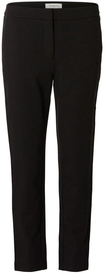 Брюки женские Selected Femme, цвет: черный. 16054957. Размер L (46)16054957_BlackСтильные женские брюки Selected Femme стандартной посадки и зауженного к низу кроя выполнены из вискозы с добавлением нейлона и эластана, что обеспечивает комфорт и удобство при носке.Брюки застегиваются на пуговицу, крючки в поясе и ширинку на застежке-молнии, на поясе имеются шлевки для ремня. Модель дополнена двумя втачными карманами спереди и одним прорезным карманом-обманкой сзади.
