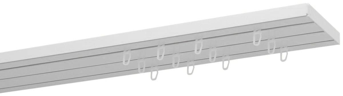 """Трехрядный шинный карниз Уют """"Оптима"""", выполненный из пластика белого цвета, подходит для штор любого типа. Такой вид карнизов прост по конструкции (шины и бегунки), а, кроме того, невероятно практичен, так как позволяет повесить и шторы, и тюль, и ламбрекен (причем в центре внимания будут именно шторы), а сам карниз будет практически незаметен. Способ крепления таких карнизов, в основном, потолочный.  Помимо практичности шинный карниз обладает рядом других преимуществ: при открытии и закрытии штор он создает минимум шума. Такой карниз также является водостойким, что позволяет использовать его в ванной комнате и на балконе. Он подойдет для любых видов штор, за исключением очень тяжелых тканей."""