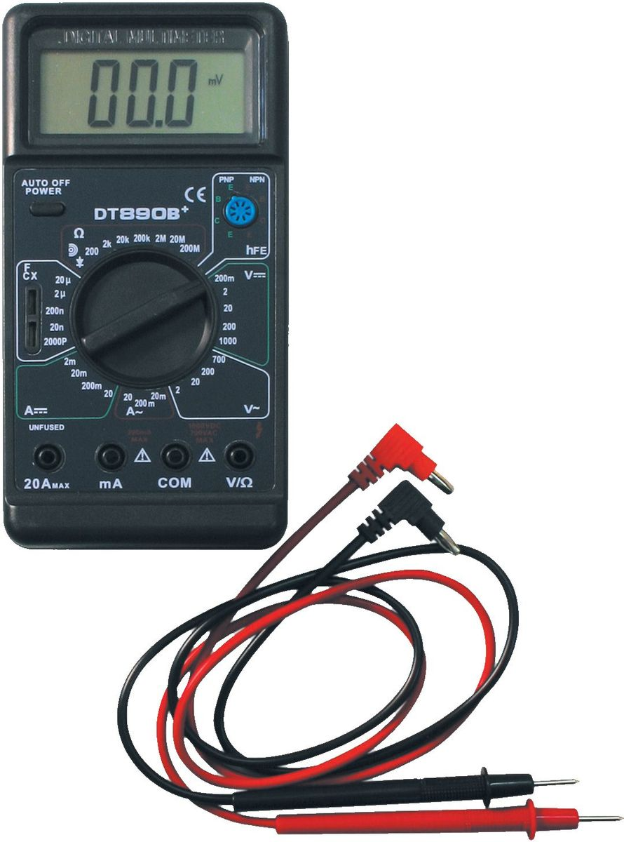 Мультиметр универсальный Ресанта DT 890 B+61/10/224Мультиметр Ресанта DT 890 B+ предназначен для измерения напряжения, тока, сопротивления, емкости, проверки диодов, транзисторов, звуковой прозвонки. Модель очень удобна в использовании. Корпус надежно лежит в руке, не выскальзывая, все обозначения нанесены яркой краской, их отлично видно даже в условиях плохой освещенности. Широко используется как в домашнем хозяйстве и мастерских, так и в лабораториях. постоянное напряжение: 1000 В переменное напряжение: 700 В.