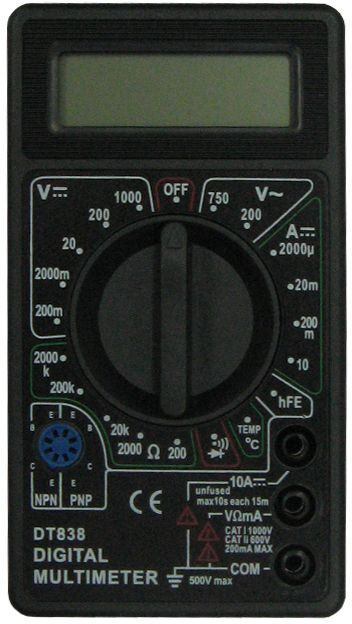 Мультиметр ТЕК DT 83861/10/513Наименование РЕСАНТА DT 838 МультиметрПостоянное напряжение 200м-2000м-20-200-1000 VПостоянный ток 2м-20м-200м-10А+/-1,2% АСопротивление 200-2к-20к-200к-2М-20М-200МОм+/-1,0% мОмРабочая температура 0/+40 °С