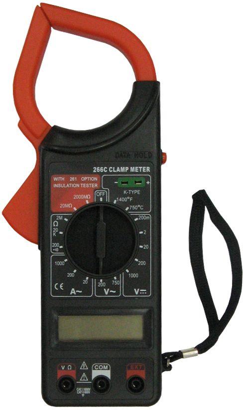 Клемметр Ресанта DT 266C61/10/514Клемметр Ресанта DT 266C - профессиональный инструмент с цифровым ЖК дисплеем диагональю 3,5. Служит для измерения: тока, напряжения, сопротивления, температуры и изоляции (только при наличии 500 - вольтового измерителя изоляции). Клемметр имеет 3 входных разъёма, они защищены от перегрузки. С учетом небольшого веса и малым размерам работа данным приборам очень комфортна. Постоянное напряжение - 1000 В погрешность ±0,8% Переменное напряжение - 750 В погрешность ±1,2% Сопротивление - 200М-2000 кОм -погрешность ±1.0% Частота - 2кГц погрешность ±4.0%