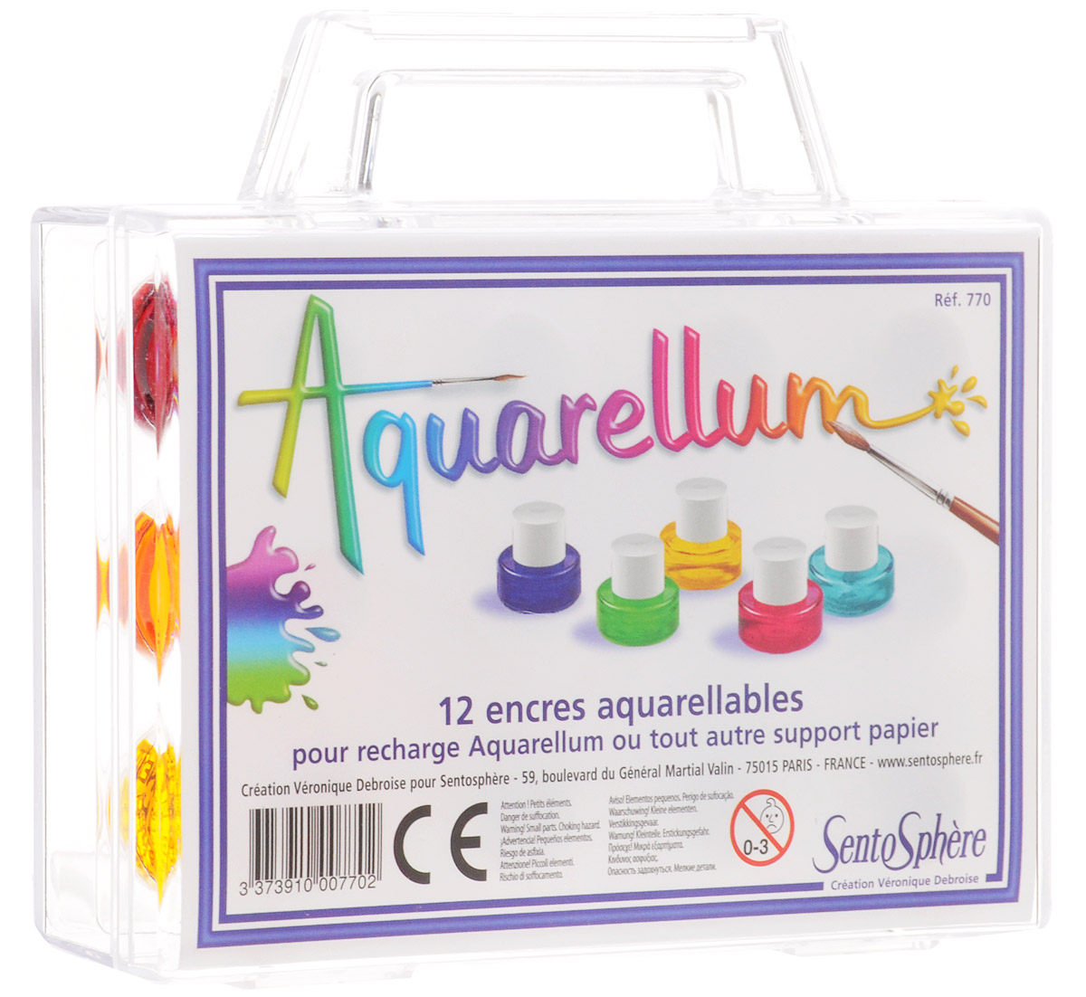 SentoSphere Акварель 12 цветов770Акварельные краски SentoSphere приведут в восторг юного художника.Дети с удовольствием будут учиться рисовать, создавая яркие рисунки с помощью этих разноцветных красок. Краски легко наносятся, быстро сохнут и не пачкаются. Их удобно хранить в оригинальном чемоданчике. В процессе рисования у детей развивается мелкая моторика рук, фантазия, воображение и творческое мышление.В наборе 12 ярких цветов в флакончиках. Объем одного флакона 5 мл.