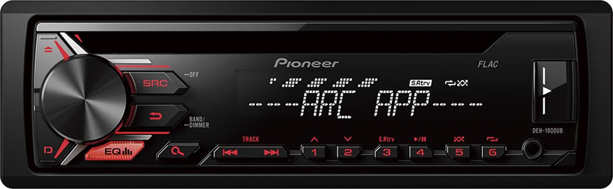 Pioneer DEH-1900UB автомагнитола1025095Автомобильная магнитола Pioneer DEH-1900UB с потрясающей красной подсветкой, которая позволяет слушать музыку с FM радиостанций, CD-дисков, Android смартфонов, USB-устройств или устройств, подключенных через Aux-вход.Встроенный усилитель MOSFET с выходной мощностью 4 х 50 Вт позволяет воспроизводить музыку в высоком качестве . Для того, чтобы увеличить мощность, можно воспользоваться RCA выходом на тыловой панели устройства для подключения дополнительного сабвуфера или усилителя.