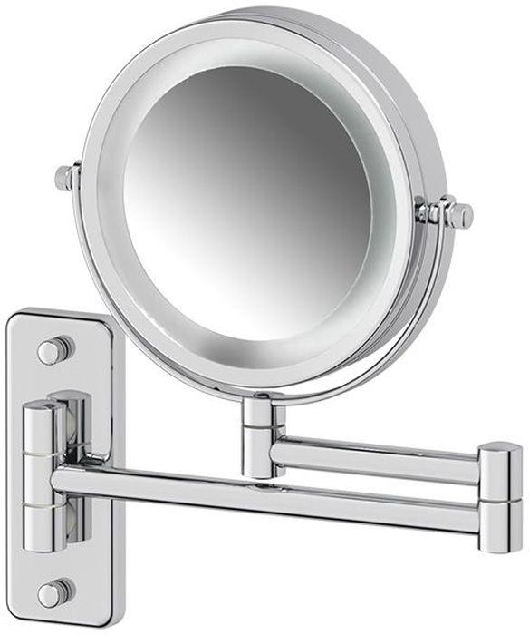 Зеркало косметическое Defesto Pro, настенное, с подсветкойDEF 102Косметическое зеркало с подсветкой Defesto Pro на кронштейне из хромированной стали - идеальное решение для нанесения макияжа и выполнения других косметических процедур. Одна из сторон увеличивает изображение в три раза, что дает возможность хорошо рассмотреть любые изменения на коже. Крепление к стене позволяет установить аксессуар в любом удобном для использования месте.Мощность подсветки - 14W, работает от батареек.