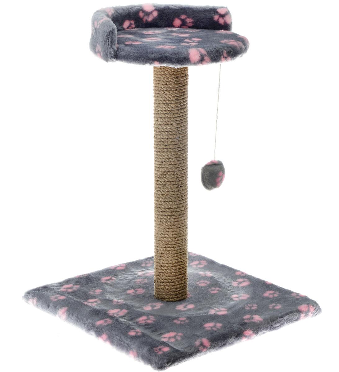 Когтеточка Меридиан Арена, цвет: темно-серый, розовый, 41 х 41 х 59 см