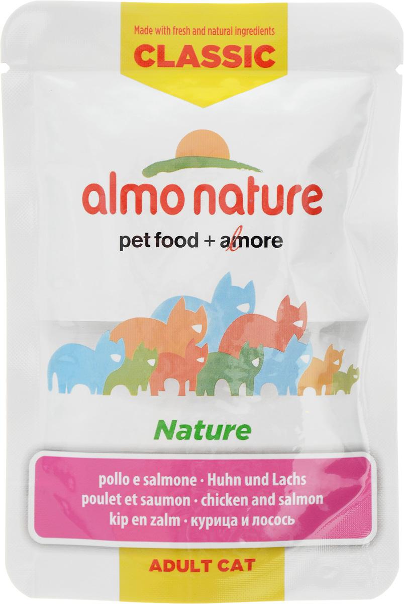 """Консервы для кошек Almo Nature """"Classic"""", с курицей и лососем, 55 г"""