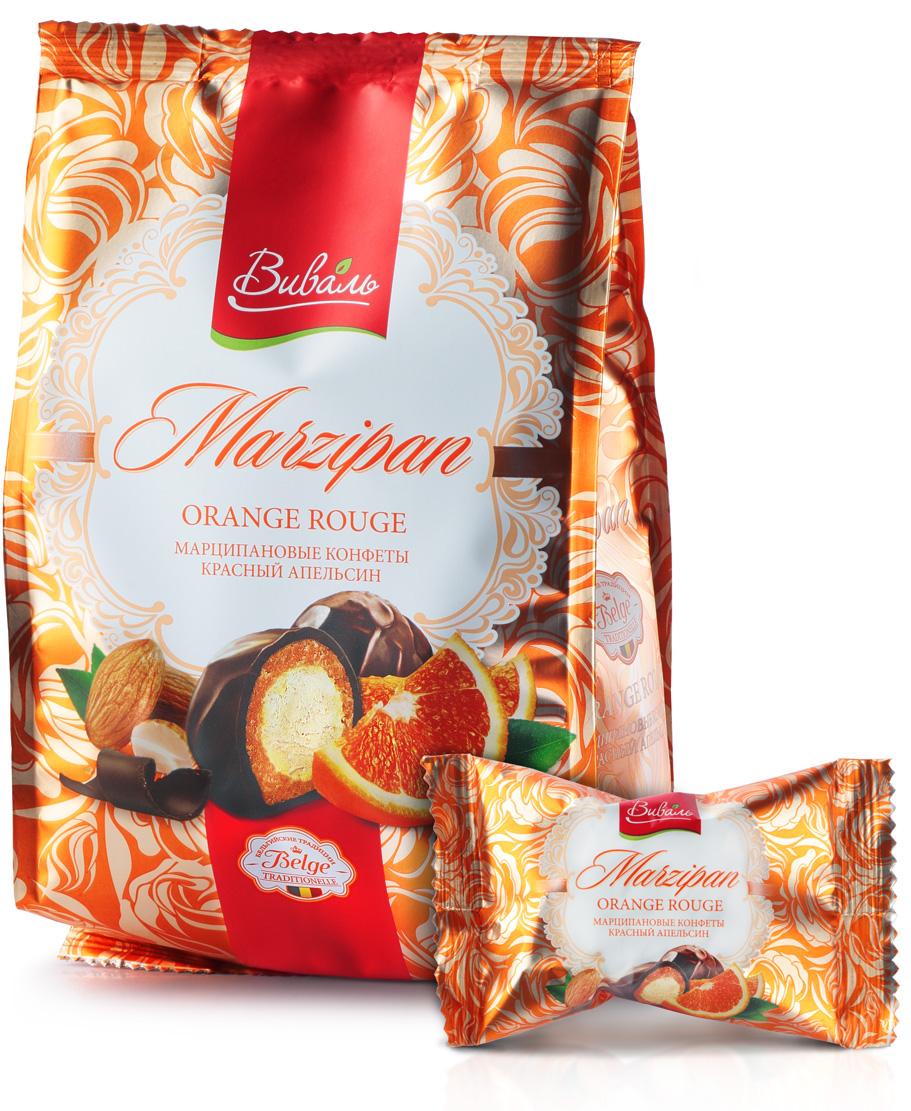 Виваль марципановые конфеты с начинкой Красный апельсин, 140 г4620000679271Сердце из шелковистого сливочно-апельсинового мусса с кусочками красного сицилийского апельсина, спрятанное под прослойкой из марципана и покрытое благородным темным шоколадом.Яркая упаковка привлекает изысканным дизайном, а оригинальные вкусы продукта, соответствуют премиальному позиционированию. Марципановые конфеты подходят как подарок к празднику, так и для домашнего чаепития!