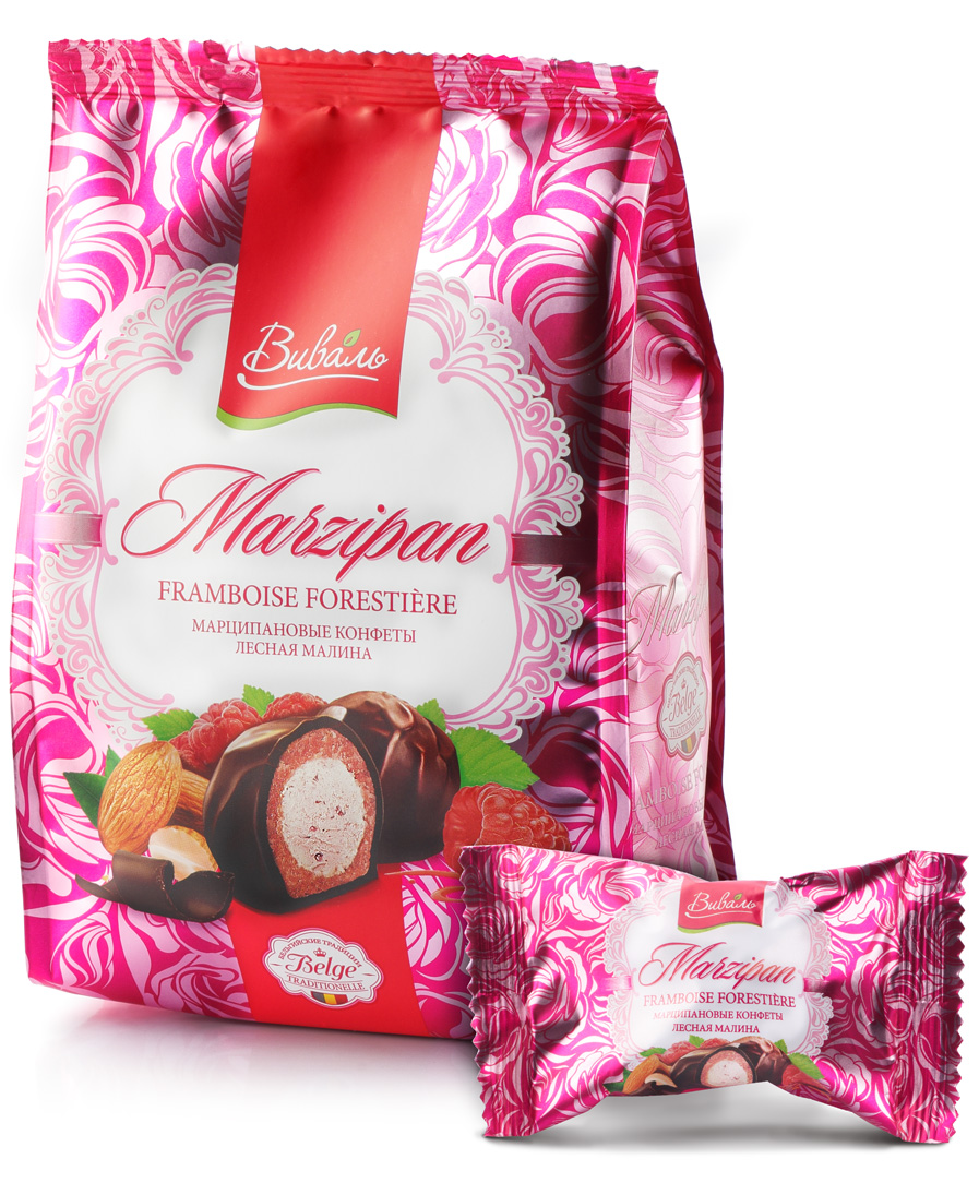 Виваль марципановые конфеты с начинкой Лесная малина, 140 г4620000679295Бархатистый сливочно-малиновый мусс с кусочками лесной малины и едва уловимыми нотами мяты в сочетании с марципаном, окутанный вуалью темного шоколада.Яркая упаковка привлекает изысканным дизайном, а оригинальные вкусы продукта, соответствуют премиальному позиционированию. Марципановые конфеты подходят как подарок к празднику, так и для домашнего чаепития!