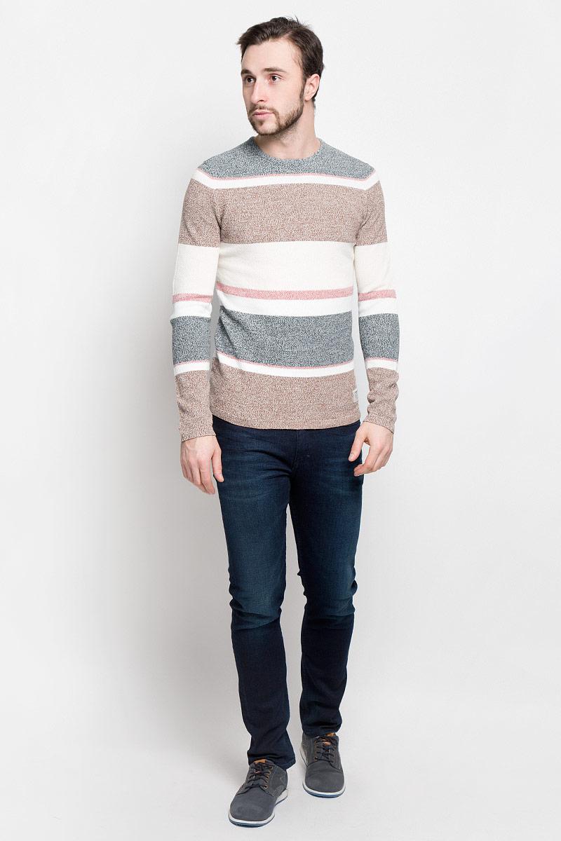 Джемпер мужской Tom Tailor Denim, цвет: серый, бежевый. 3022033.01.12_2802. Размер XL (52) джемпер мужской tom tailor denim цвет бордовый 3022104 01 12 4257 размер xl 52
