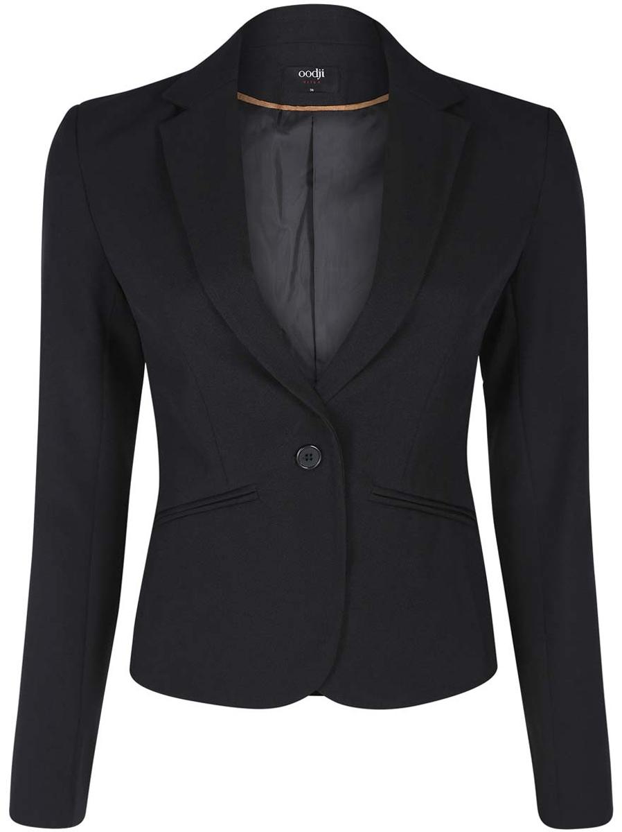 все цены на Жакет женский oodji Ultra, цвет: черный. 11200286-1B/14917/2900N. Размер 34-164 (40-164) онлайн