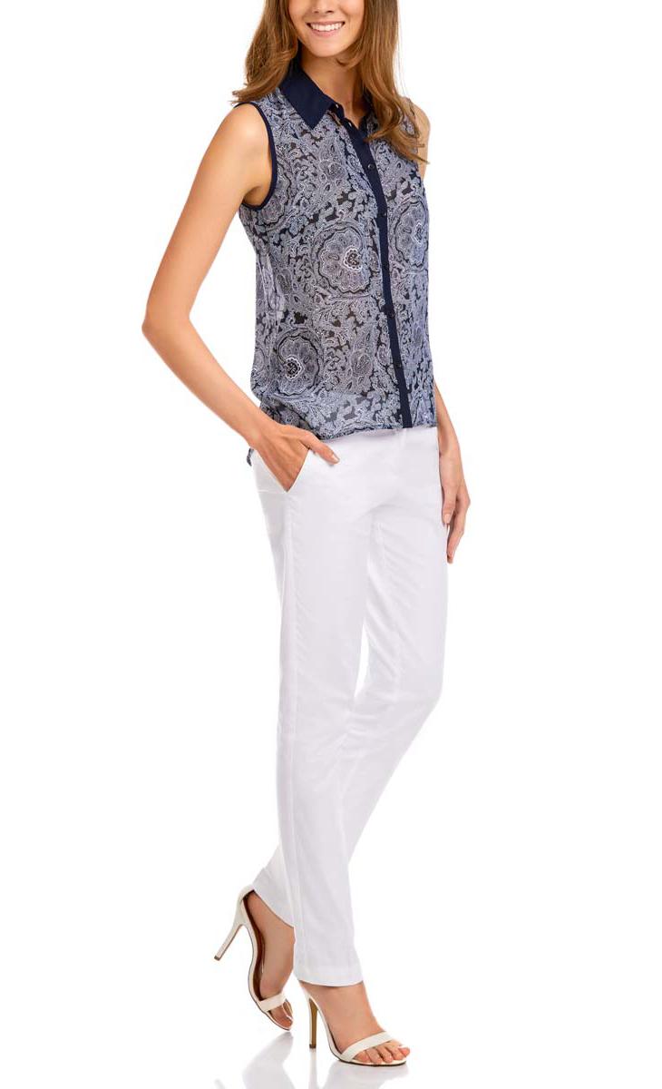 Блузка женская oodji Ultra, цвет: темно-синий, белый. 11403158-9/15018/7910E. Размер 44-170 (50-170) блузка женская oodji collection цвет серый черный розовый 21404007 15018 2341e размер 44 170 50 170