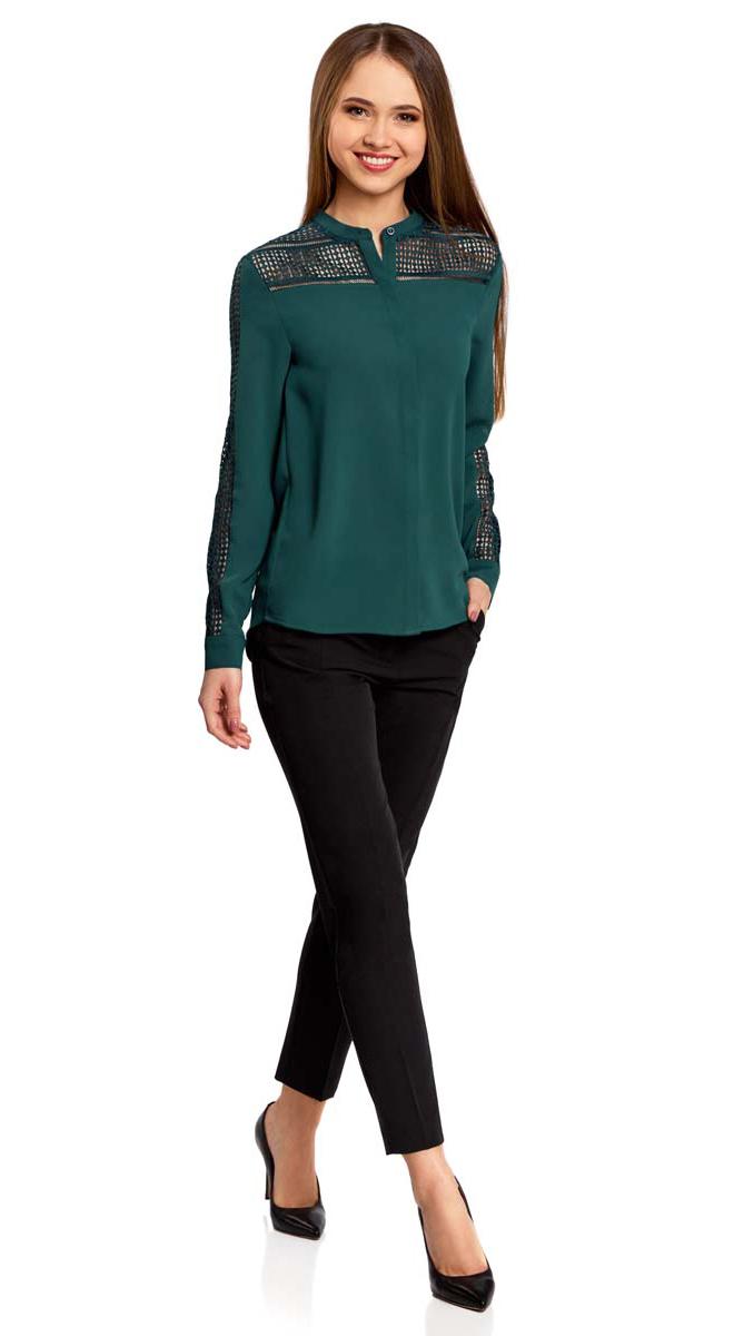 Блузка женская oodji Collection, цвет: темно-зеленый. 21413001/35664/6900N. Размер 42-170 (48-170)