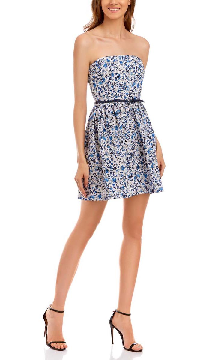 Платье oodji Ultra, цвет: белый, синий. 11902101-6/14912/1075F. Размер 44-164 (50-164) oodji 11902101 4 14912 1245e