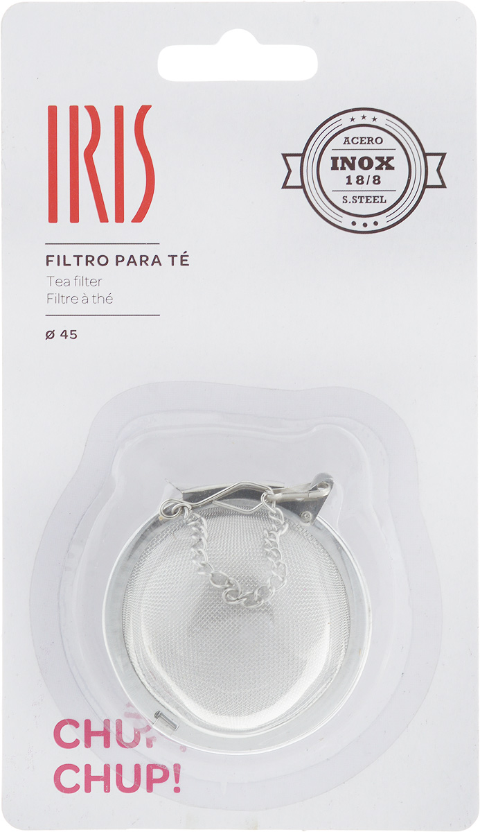 Ситечко для заваривания чая Iris, диаметр 4,5 см2623-IСитечко для заваривания чая Iris изготовлено из высококачественной нержавеющей стали. Удобная конструкция ситечка позволяет без особых усилий засыпать заварку в ситечко, поместить его в чашку или чайник с помощью цепочки и после заваривания с легкостью высыпать использованную заварку. При этом напиток остается чистым, как при использовании пакетированного чая, но гораздо более ароматным и полезным. С помощью ситечка удобно контролировать степень заваривания, а в зависимости от количества заварки, одновременно приготовить несколько чашек напитка. Допускается мытье в посудомоечной машинеДиаметр ситечка: 4,5 см.