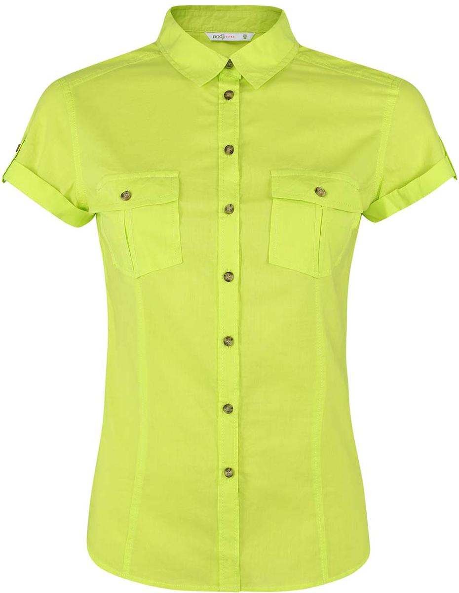 Купить Рубашка женская oodji Ultra, цвет: салатовый. 11402084-5B/45510/6A00N. Размер 36-170 (42-170)