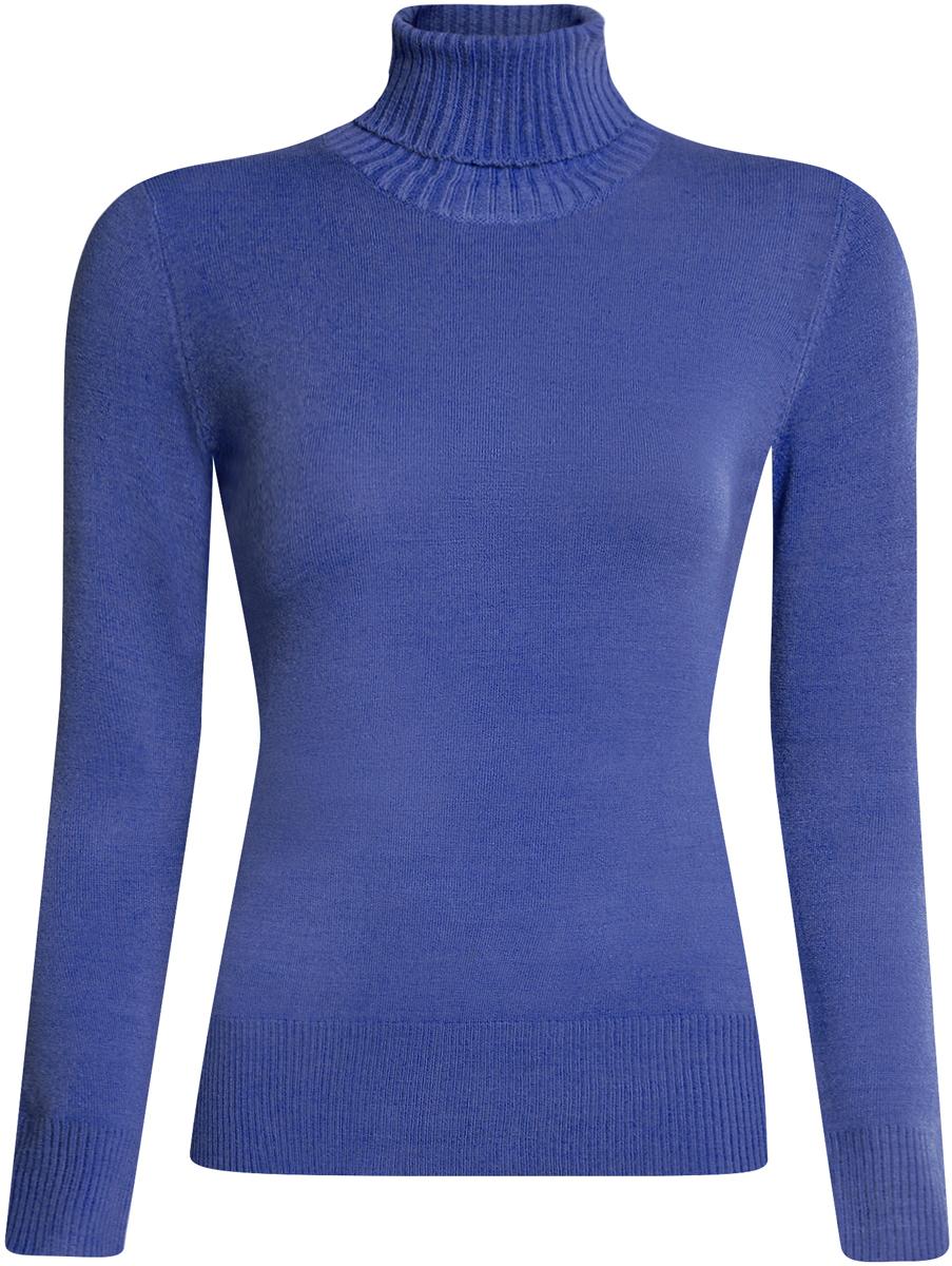 Свитер женский oodji Ultra, цвет: синий. 64410012-2/33425/7500N. Размер L (48)64410012-2/33425/7500NСвитер женский oodji Ultra выполнен из акрила, полиамида и эластана. Модель с воротником-гольфом имеет длинные рукава. Низ и рукава модели дополнены текстильными эластичными резинками.