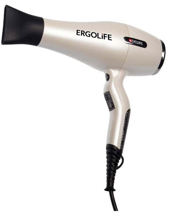 Dewal 03-001 ErgoLife, White фен03-001 WhiteПрофессиональный фен Dewal 03-001 Ergolife выполнен в жемчужно-белом цвете с покрытием Soft Touch. Индивидуальный стиль фена подчеркивают змеиная вставка на ручке и металлические элементы на корпусе. Особенность фена Ergolife - улучшенная эргономика благодаря изогнутой форме ручки. Она создает идеальную сбалансированность, фен очень удобно держать в руках. Кнопки переключения температурных режимов находятся спереди, что дает дополнительное удобство во время работы.Мощный мотор - до 8 часов непрерывной работы;Высокая скорость воздушного потока. Корпус фена разработан с учетом оптимизации расхода воздуха;Защита от перегрева Stop-heat. Защитный механизм на нагревательном элементе фена охлаждает корпус , сохраняет мотор, защищая его от перегрева, а также поддерживает оптимальную температуру для волос.
