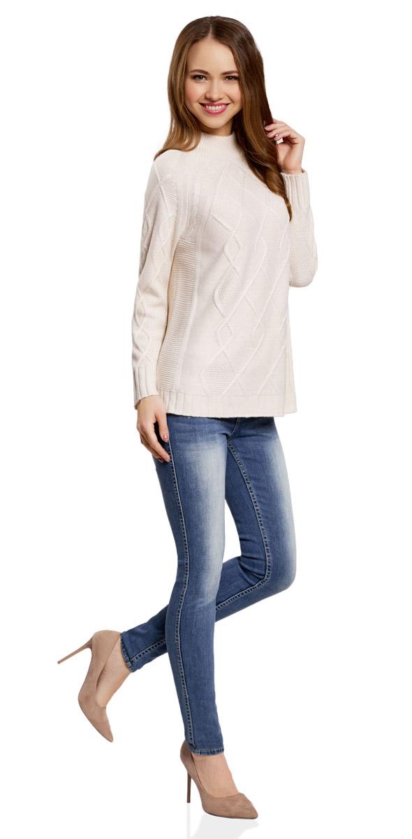 Джемпер женский oodji Collection, цвет: кремовый. 73807621/18941/3000N. Размер M (46) пуловеры oodji пуловер