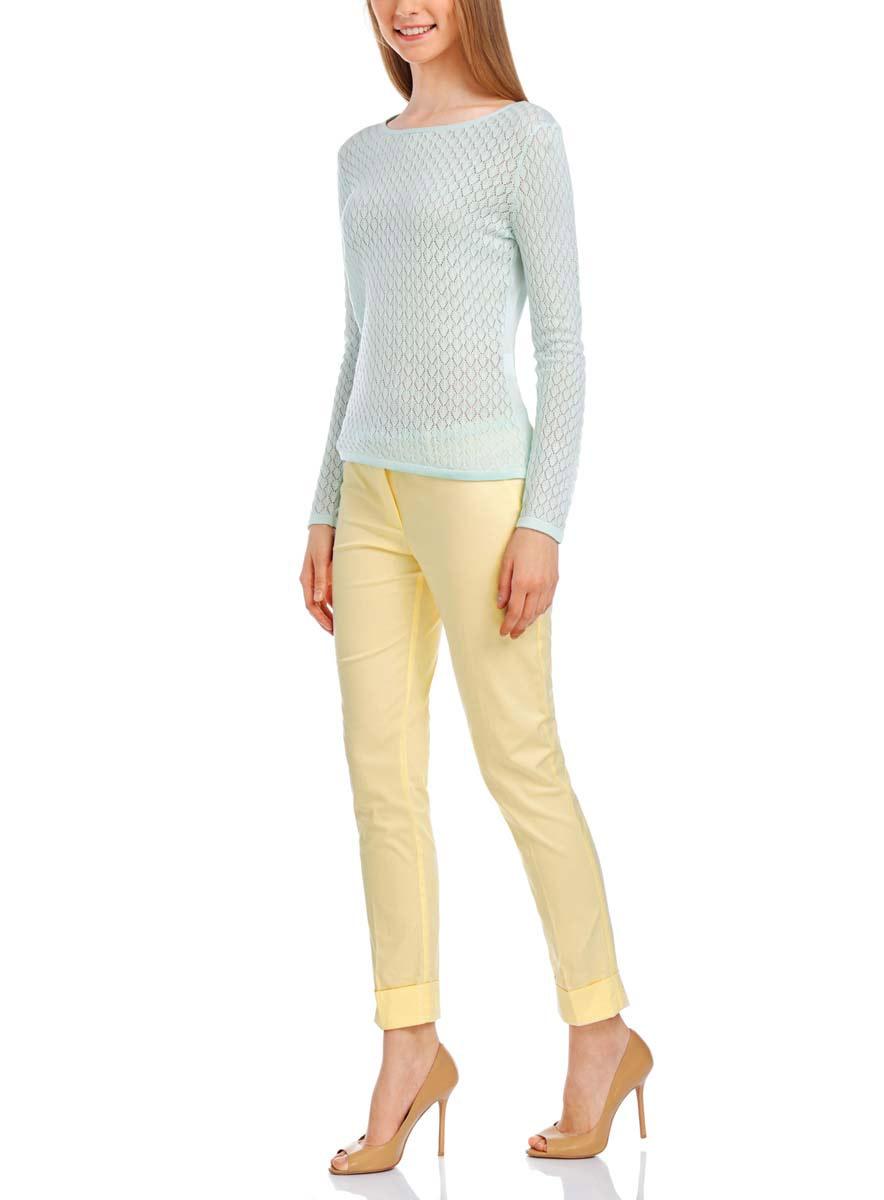 Брюки женские oodji Ultra, цвет: светло-желтый. 11703057-7/19887/5000N. Размер 42-170 (48-170) брюки женские oodji ultra цвет ярко розовый черный 11707090 19887 4d29b размер 40 170 46 170