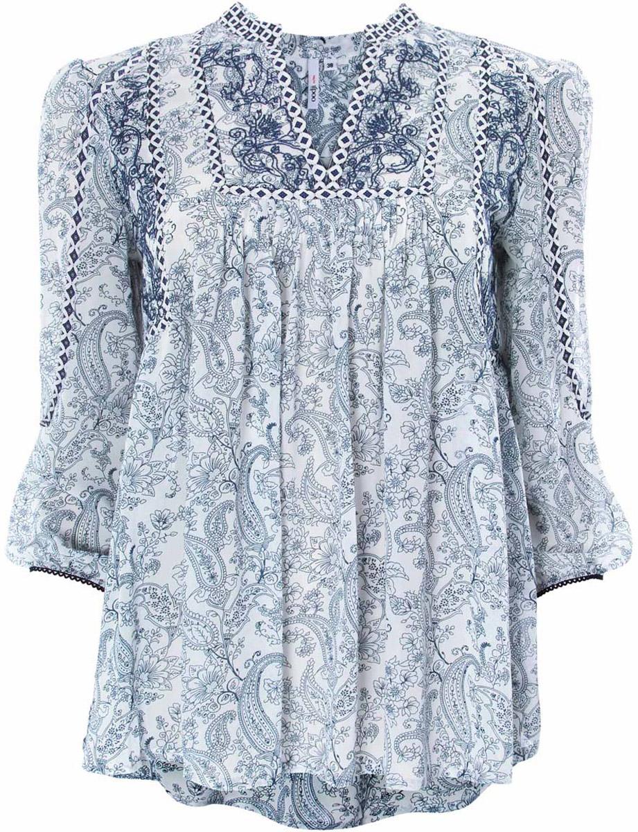 Блузка женская oodji Ultra, цвет: белый, темно-синий. 11400440/17358/1073E. Размер 38-170 (44-170) блузка miamoda klingel цвет темно синий белый рисунок