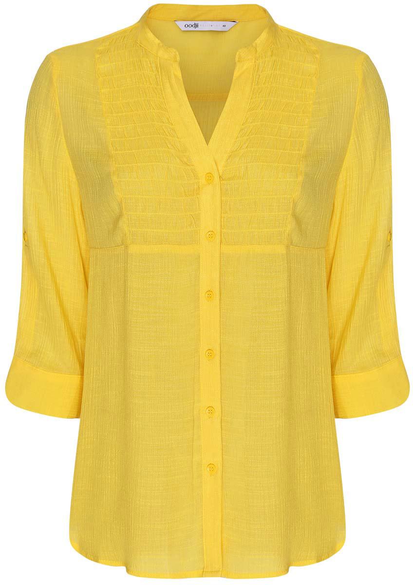 Блузка женская oodji Collection, цвет: желтый. 21412068-2/19984/5200N. Размер 38-170 (44-170) блузка женская oodji collection цвет бирюзовый 21412068 2 19984 7300n размер 42 170 48 170