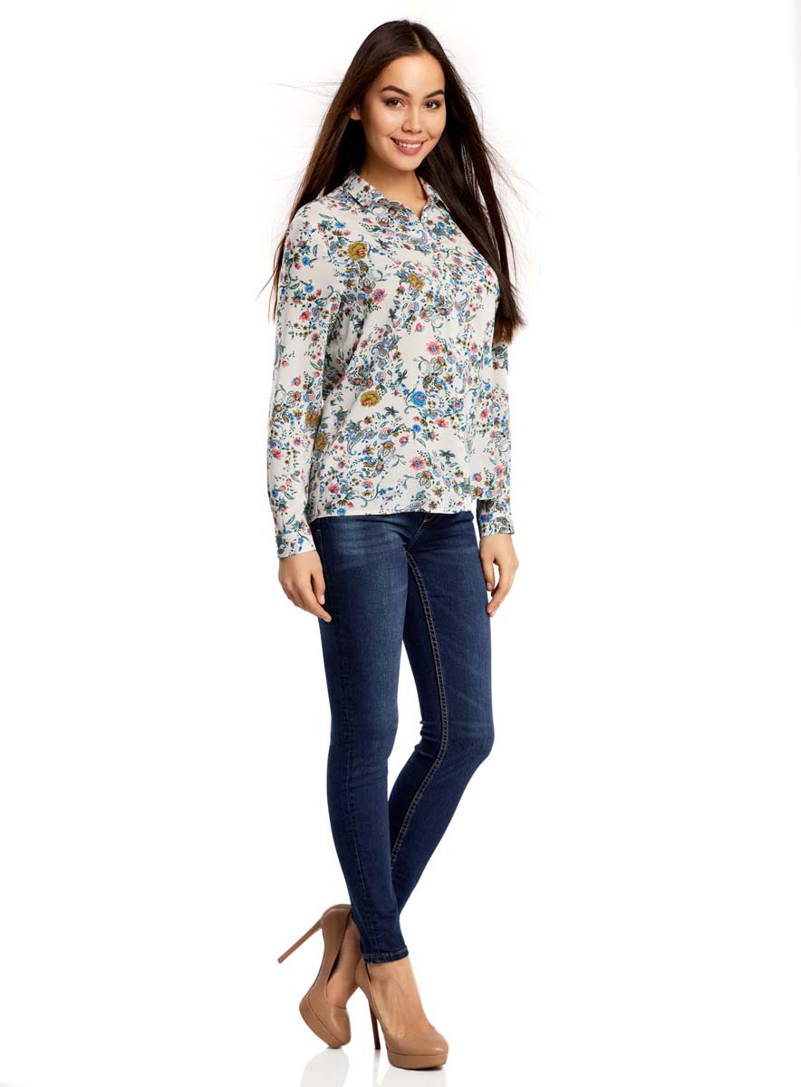 Рубашка женская oodji Ultra, цвет: белый, синий. 11411098-1M/24681/1275E. Размер 36-170 (42-170)