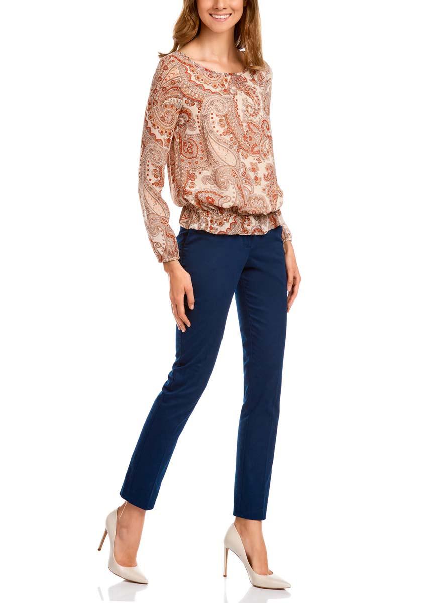 Блузка женская oodji Collection, цвет: светло-розовый, темно-коричневый. 21400393M/35202/4039E. Размер 42-170 (48-170) блузка miamoda klingel цвет розовый белый
