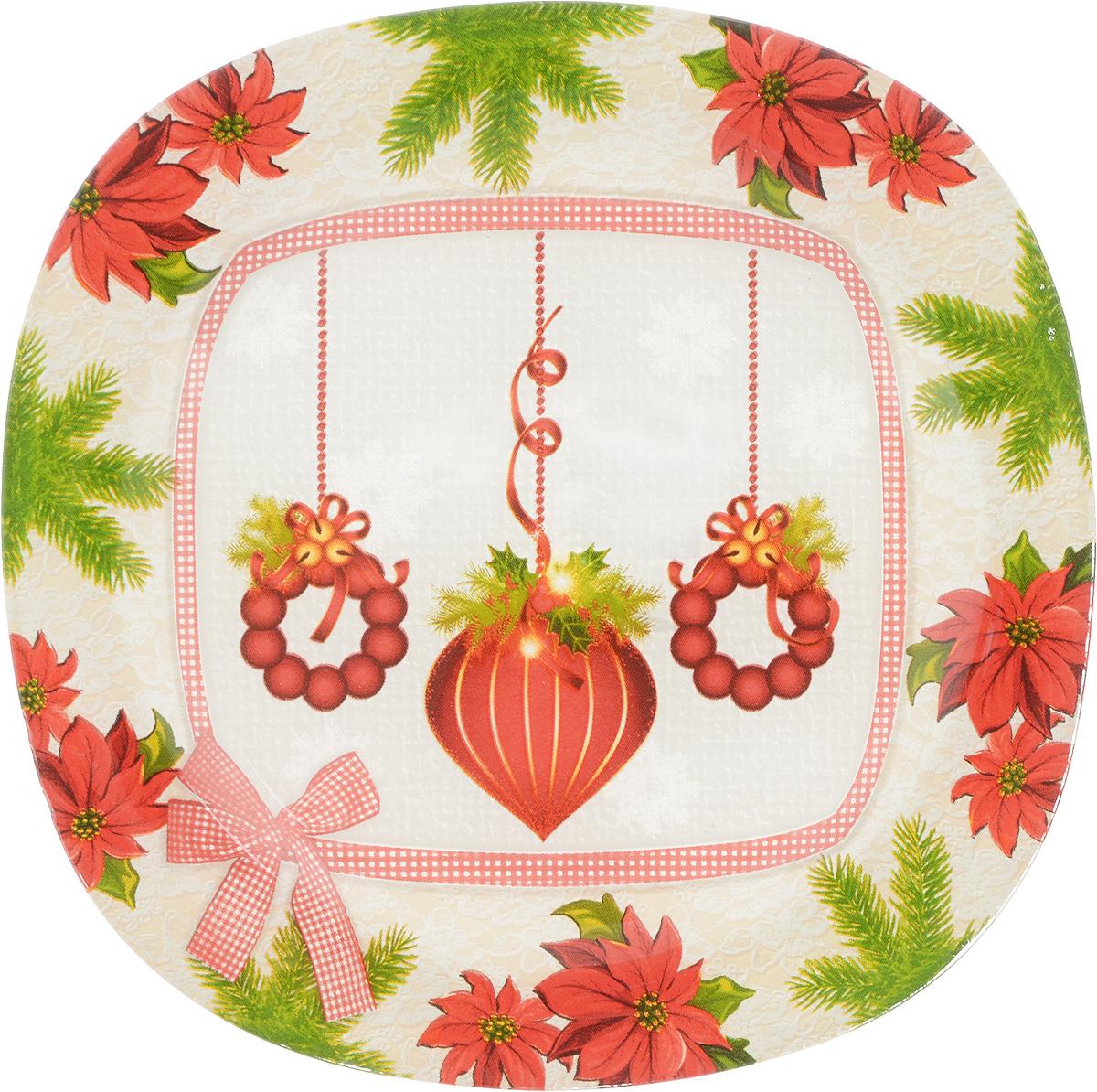 Тарелка Family & Friends, цвет: белый, красный, зеленый, 20 х 20 см216163.._белый, красный, зеленыйТарелка Family & Friends изготовлена из качественного стекла. Изделие декорировано красивым рисунком. Такая тарелка отлично подойдет в качестве блюда для сервировки закусок и нарезок, ее также можно использовать как обеденную. Тарелка Family & Friends будет потрясающе смотреться на новогоднем столе. Яркий запоминающийся дизайн и качество исполнения сделают ее отличным новогодним подарком. Размер: 20 х 20Не рекомендуется использовать в микроволновой печи и мыть в посудомоечной машине.