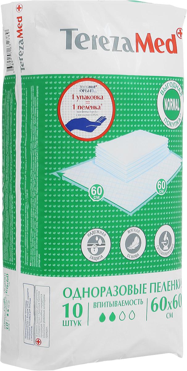 TerezaMed Пеленки одноразовые впитывающие Normal 60 x 60 см 10 шт пеленки terezamed пеленки normal 10 шт