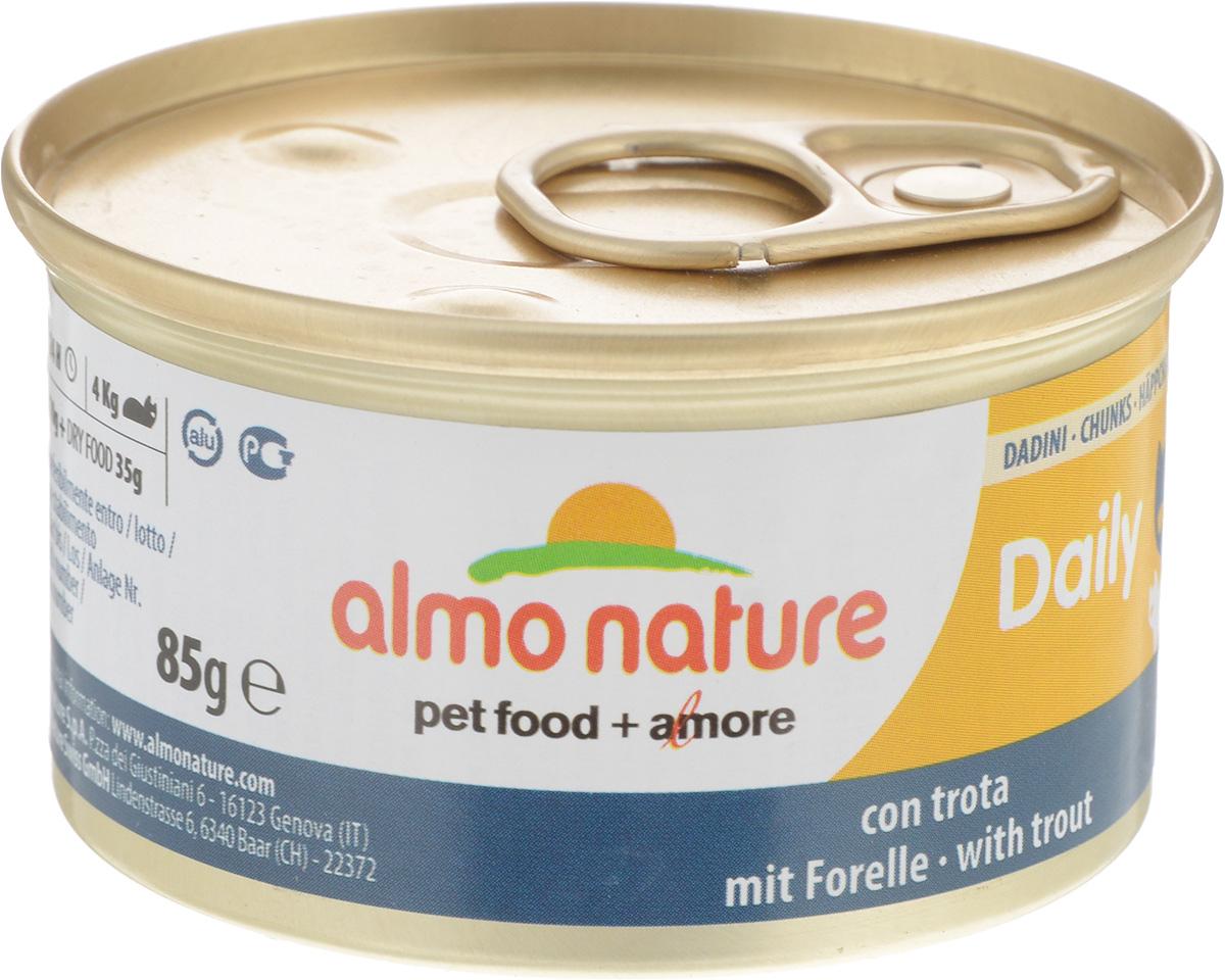 Консервы для кошек Almo Nature Daily Menu, с форелью, 85 г24064Almo Nature Daily Menu - нежное мясо, превращенное вделикатный мусс с использованием ингредиентоввысочайшего качества. Любая привереда замурлыкает отудовольствия, если у нее в миске окажется такой деликатес.Особый метод приготовления консервированного корма Almo Nature Daily Menu сохраняет привлекательный аромат и свежесть продукта, ведь мясо приготавливается в собственном бульоне и только затем превращается в мусс. Минералы, также присутствующие в составе, особенно медь, участвуют в формировании костной и тканевой системе, выполняют функции антиоксиданта.Состав: свежая рыба (из которой форель 14%), минералы, сахар. Пищевые добавки: витамин А мин. 1110 МЕ/кг, витамин D3 140 МЕ/кг, витамин Е 10 мг/кг, таурин 410 мг/кг, сульфат меди пентагидрат 3,2 мг/кг (Cu 0,8 мг/кг). Товар сертифицирован.