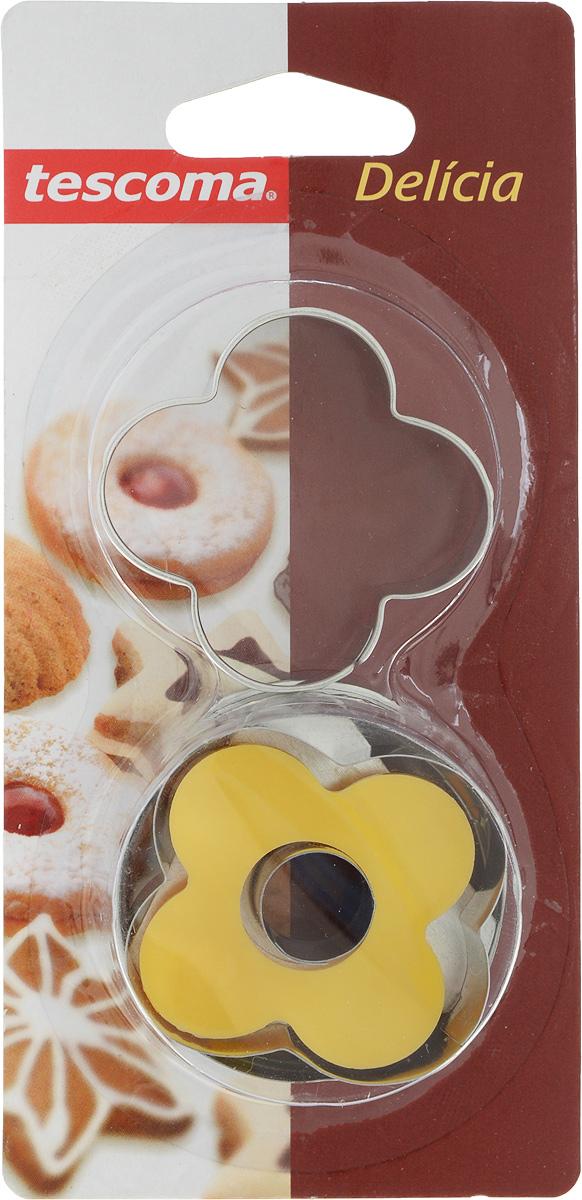 Пресс-форма для печенья Tescoma Цветок, цвет: желтый, стальной, диаметр 5 см, 2 шт631250_цветокПресс-форма Tescoma Цветок для печенья выполнена из высококачественного металла и пластика. С помощью пресс-формы вырежьте из теста форму, перенесите на лист и нажатием пружины выдавите тесто.Не рекомендуется мыть в посудомоечной машине. Диаметр формы: 5 см.