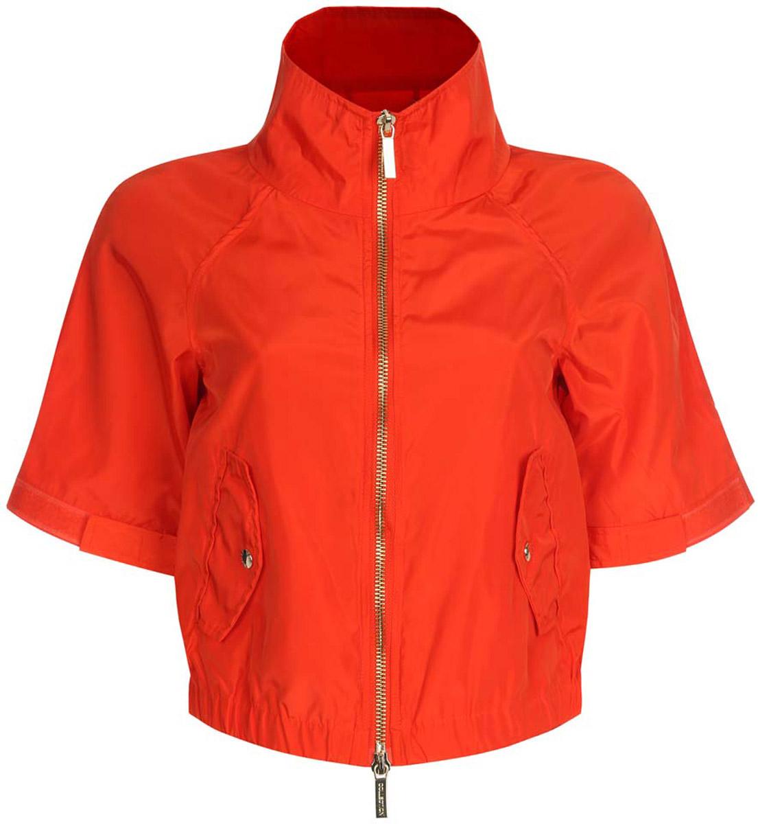 Куртка женская oodji Ultra, цвет: оранжевый. 10307004/45462/4500N. Размер 38-170 (44-170)10307004/45462/4500NСтильная женская куртка oodji Ultra выполнена из качественного полиэстера. Куртка укороченной модели с рукавами-реглан длиной 3/4 и воротником-стойкой. Застегивается модель спереди на застежку-молнию. Низ куртки на широкой эластичной резинке. По бокам и на манжетах изделие дополнено хлястиками, которые регулируют посадку и объем с помощью липучек. Спереди куртка оформлена двумя втачными карманами с клапанами на кнопках.