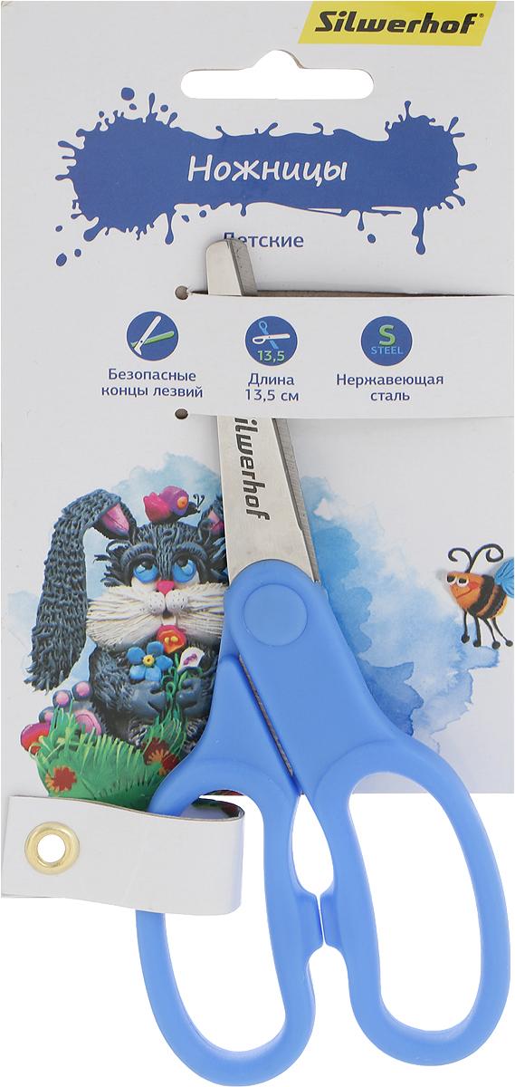 Silwerhof Ножницы детские Пластилиновая коллекция цвет голубой 13,5 см453079Детские ножницы Silwerhof Пластилиновая коллекция прекрасно подойдут для детского творчества.Лезвия выполнены из высокоуглеродистой стали с закругленными концами, что делает процесс работы с ними безопасным для ребенка. Благодаря эргономичной форме пластиковых ручек, модель отлично ложится как в детскую, так и во взрослую руку.Ножницы хорошо справляются с резкой бумаги, картона и станут незаменимым помощником в процессе создания аппликаций и других поделок.
