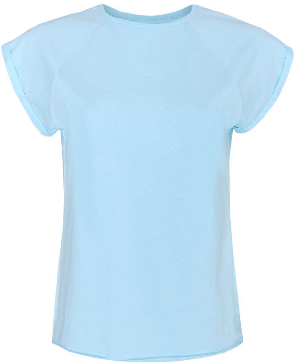 Футболка женская oodji Ultra, цвет: небесный голубой. 14707001-4B/46154/7000N. Размер XS (42)14707001-4B/46154/7000NЖенская футболка выполнена из хлопка. Модель с круглым вырезом горловины и короткими рукавами реглан, дополненными отворотом.