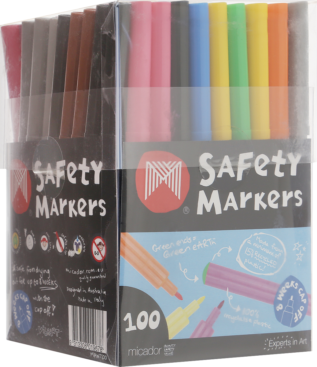 Micador Фломастеры 100 штMAWT100Фломастеры Micador классических цветов на водной основе оценят не только маленькие художники, но их родители.Фломастеры не содержат спирта, растворителей и токсичных компонентов, поэтому полностью безопасны для маленьких детей. Фломастеры имеют яркие насыщенные цвета, чернила не расплываются на бумаге, что позволяет делать четкие линии. Изготовлены по запатентованной технологии Easy Wash. Отлично смываются как с кожи, так и с других поверхностей (ткани, мебели), что обязательно оценят родители. Фломастеры долговечные они не высыхают с открытым колпачком до 8 недель, при необходимости легко заправляются водой, а это значит, вам не придется покупать все новые и новые фломастеры долгое время.Рисование развивает творческие способности, воображение, логику, память, мышление.Австралийский бренд Micador - эксперт в товарах для детского творчества с 1954 года.Каждый цвет фломастера повторяется несколько раз.