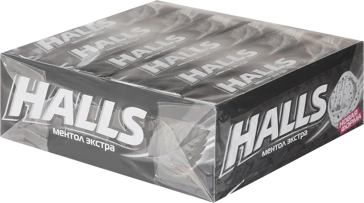 Halls Ментол Экстра леденцы, 12 пачек по 24,5 г halls карамель леденцовая со вкусом арбуза 12 пачек по 25 г