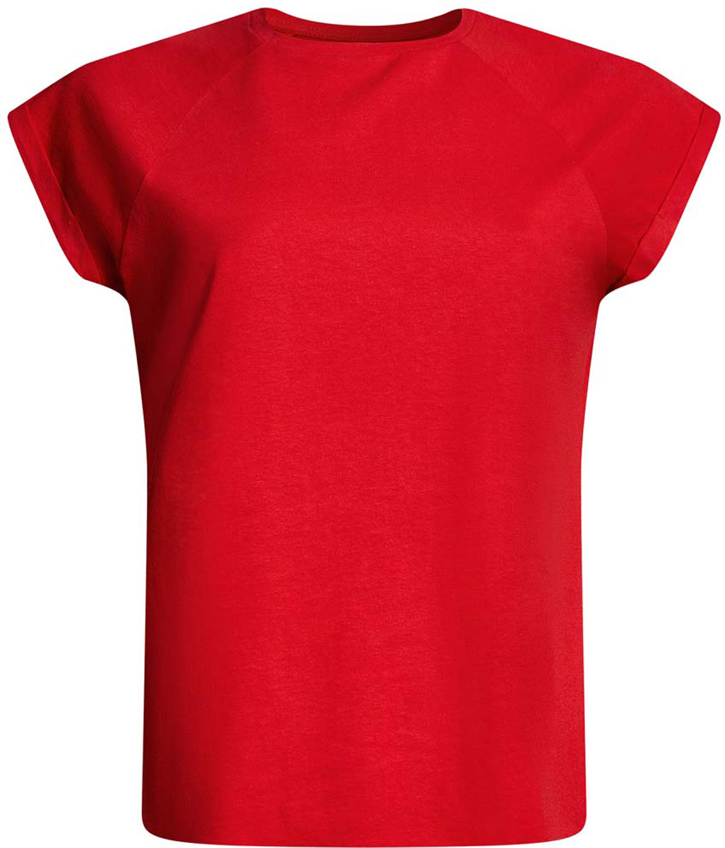 Футболка женская oodji Ultra, цвет: красный. 14707001-4B/46154/4500N. Размер XS (42)14707001-4B/46154/4500NЖенская футболка выполнена из хлопка. Модель с круглым вырезом горловины и короткими рукавами реглан, дополненными отворотом.