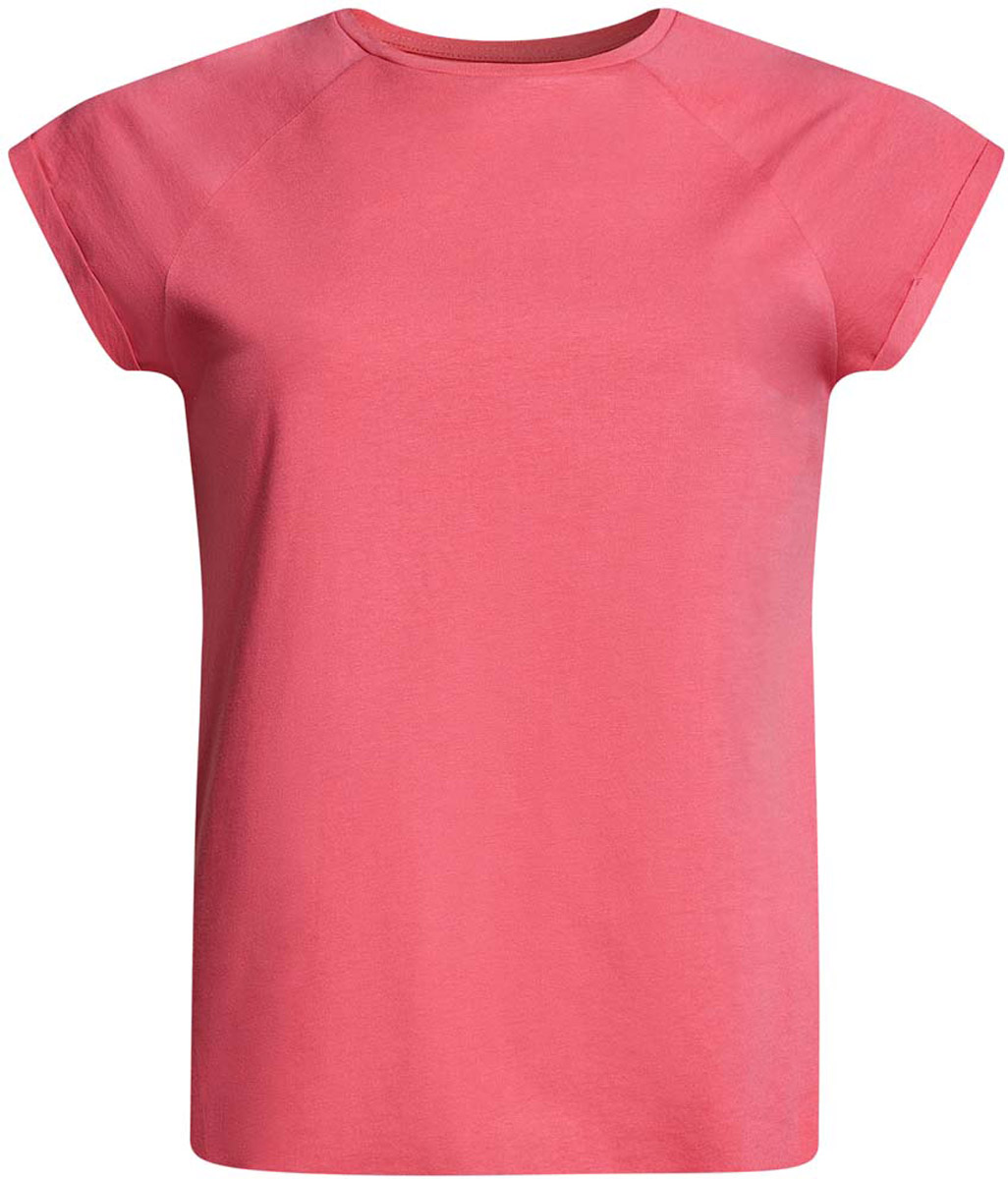 Футболка женская oodji Ultra, цвет: розовый. 14707001-4B/46154/4100N. Размер XS (42)14707001-4B/46154/4100NЖенская футболка выполнена из хлопка. Модель с круглым вырезом горловины и короткими рукавами реглан, дополненными отворотом.