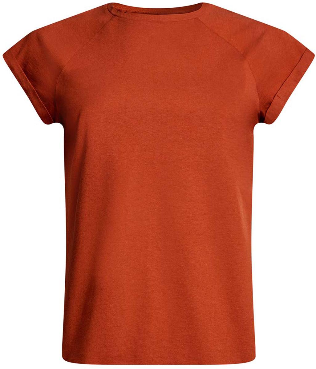 Футболка женская oodji Ultra, цвет: терракотовый. 14707001-4B/46154/3100N. Размер XXS (40)14707001-4B/46154/3100NЖенская футболка выполнена из хлопка. Модель с круглым вырезом горловины и короткими рукавами реглан, дополненными отворотом.