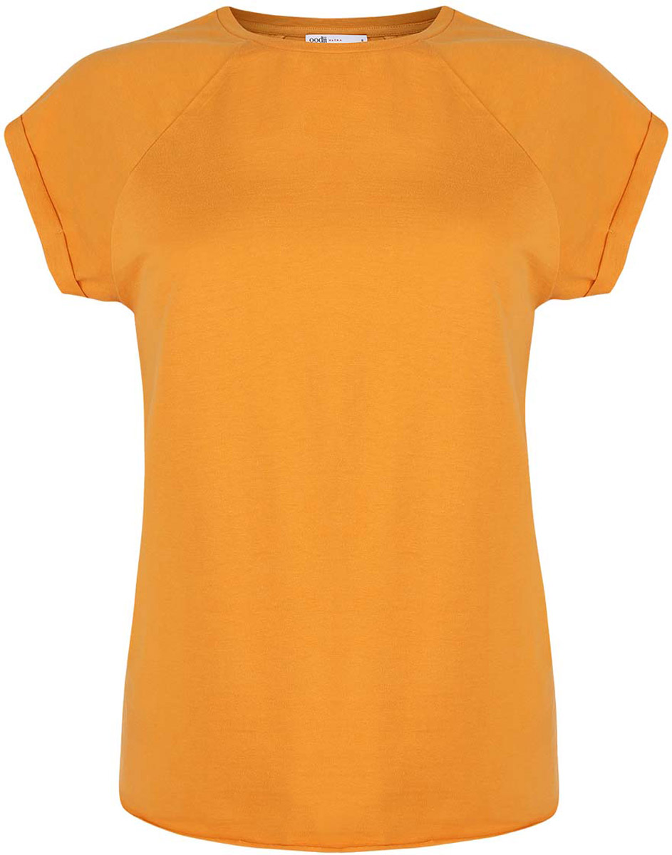 Футболка женская oodji Ultra, цвет: желтый. 14707001-4B/46154/5200N. Размер M (46)14707001-4B/46154/5200NЖенская футболка выполнена из хлопка. Модель с круглым вырезом горловины и короткими рукавами реглан, дополненными отворотом.