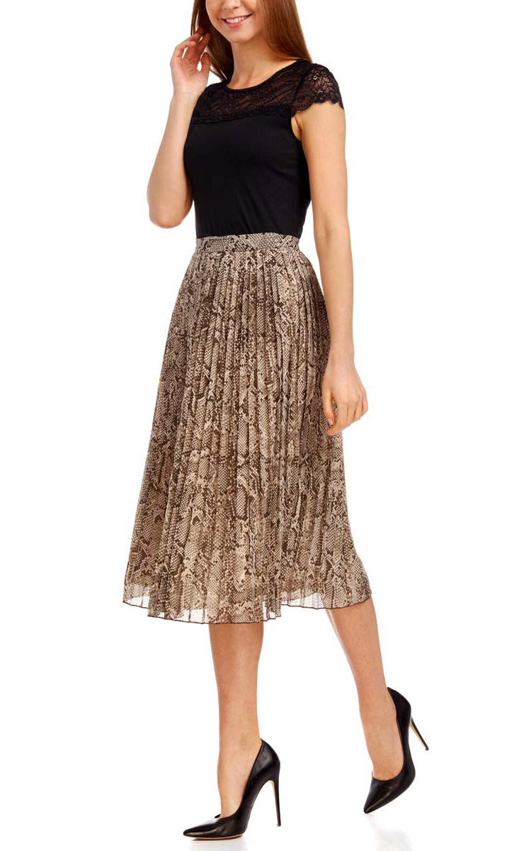 Юбка oodji Collection, цвет: бежевый, коричневый. 21606019-1/17358/2520A. Размер 42-170 (48-170) платье oodji collection цвет черный белый 24001104 1 35477 1079s размер l 48