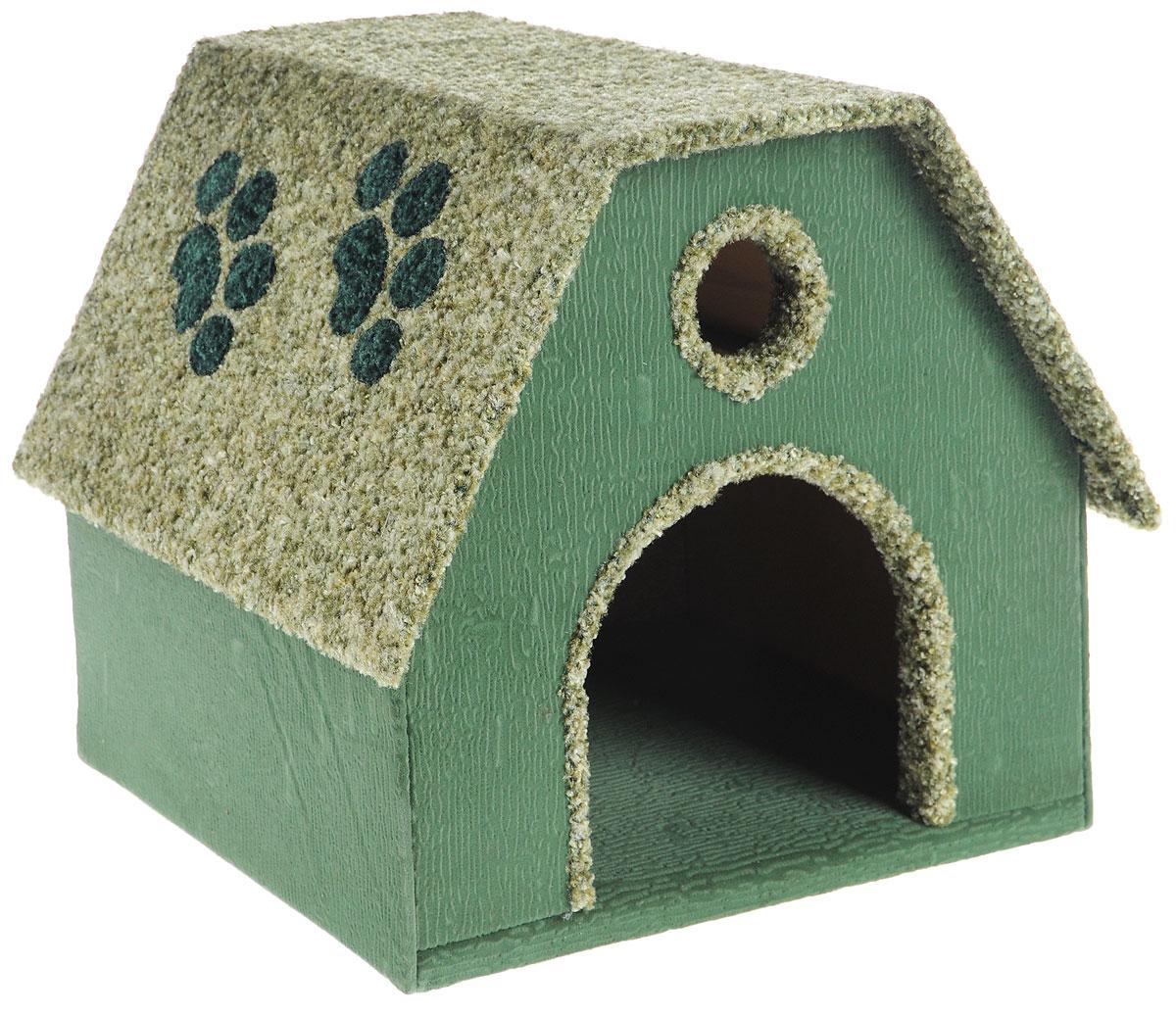 Домик для животных Неженка Будка, цвет: зеленый, 41 х 36 х 35 см7294_зеленыйБольшой, уютный домик Будка, выполненный из ДСП, обитый тканью, отлично подойдет для вашего любимца. Такой домик станет не только идеальным местом для сна вашего питомца, но и местом для отдыха. Для максимального комфорта наружные части обтянуты мягкой тканью. Изделие имеет большой вход. Удобный и мягкий, он станет не только отличным домиком для вашего любимца, но еще и оригинальным украшением интерьера.